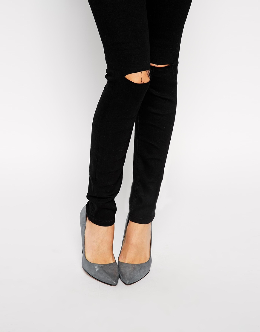 Asos ridley high waist ultra skinny jeans in clean black with ripped knees at asos.com