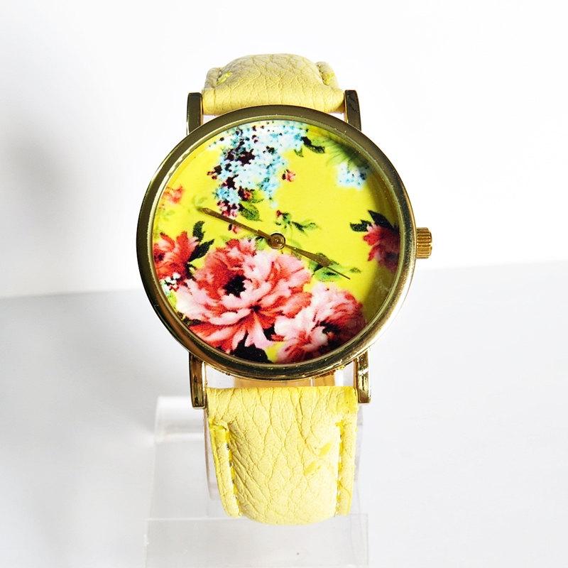 New! Summer Floral Watch, Vintage Style Leather Watch, Women Watches, Boyfriend Watch,
