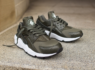 shoes nike huarache green sneakers women khaki