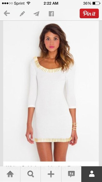 egypt egyptian gold shorts white dress short dress round toe round neck gold embellishments short party dresses white bodycon dress