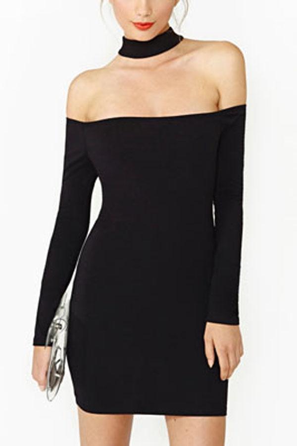 aac8121a882 Black Off Shoulder Halter Long Sleeve Party Dress   Long Sleeve Dresses