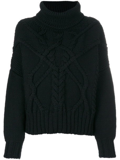 jumper women black knit sweater