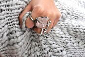 ring,silver,raw crystal,jewels