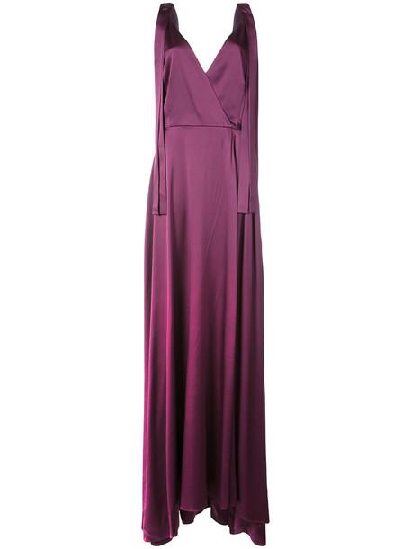 Christian Siriano gown women silk purple pink dress
