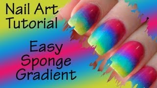 Nail Art Tutorial - Sponge Gradient / Ombre Nails ( version 2 ) - YouTube
