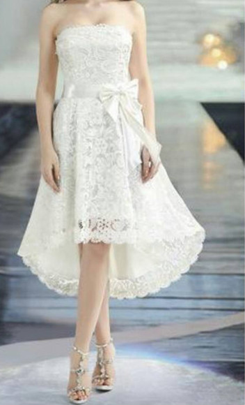dress strapless lace white bow