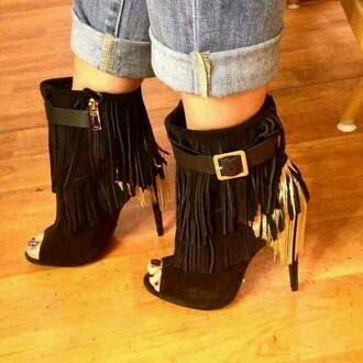 shoes open toes fringes