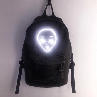 bag tumblr alien grunge neon pale pale grunge cyber ghetto backpack black