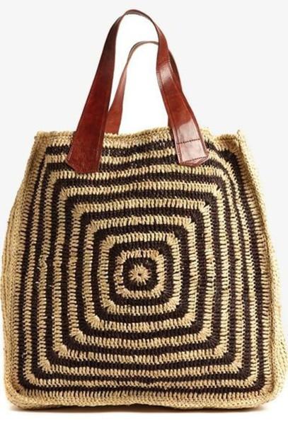 bag raffia raffia bag tote bag ornament print beach bag