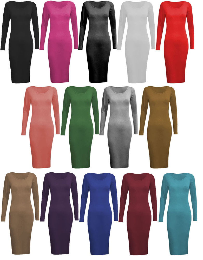 B80 Long Sleeve Stretch MIDI Bodycon Dress Size 8 10 12 14 16 18 20 22 24 26 NEW | eBay
