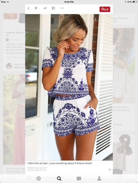 shorts blue and white two-piece top matching set jumpsuit