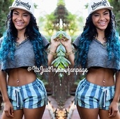 shorts,india westbrooks,blue shorts,hat,jewels,shirt