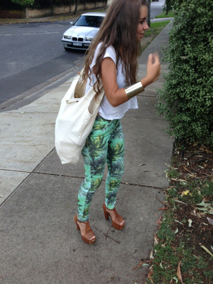 pattern pants teal palm tree socal green