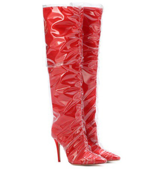 Jimmy Choo X Off-White Elisabeth 100 satin boots in red