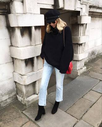 sweater tumblr black sweater knit knitwear denim jeans blue jeans boots black boots ankle boots bag red bag hat fisherman cap