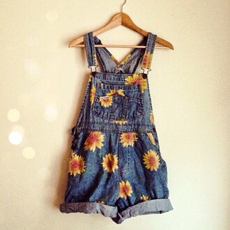 dress overalls vintage flowers dungarees jumpsuit shorts denim overall shorts daisies