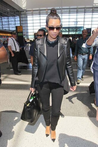 jacket leather leather jacket kim kardashian black kim kardashians sweater sunglasses