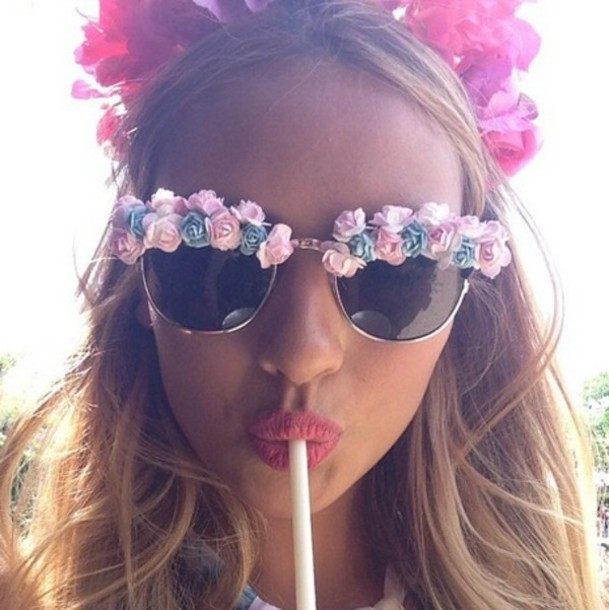 sunglasses pink pink flowers flowers white pink flowers tie up pink sunglasses