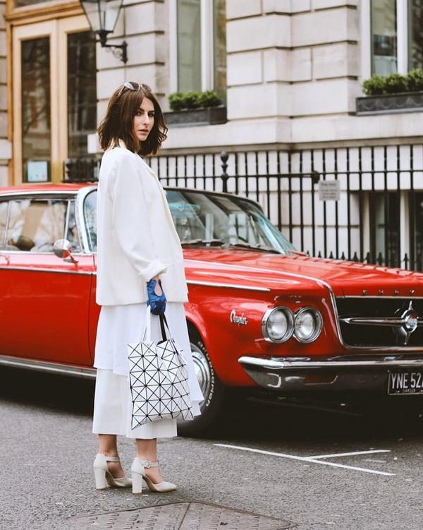 bag bao bao issey miyake tote bag tumblr streetstyle white italist