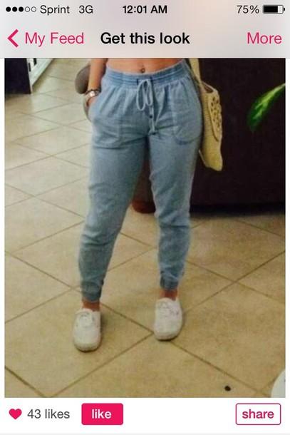 pants jeans joggers drawstring denim sweat look cute hot trendy