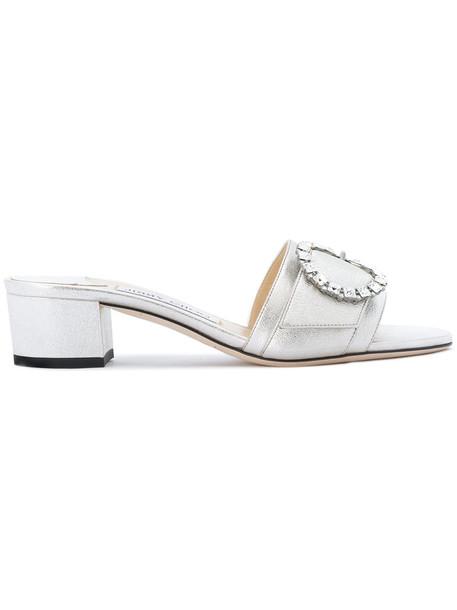 Jimmy Choo women mules leather grey metallic shoes