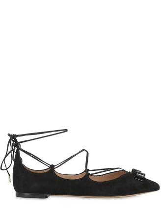flats lace suede black shoes