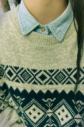 aztec,aztek,aztek print,tribal pattern,jumper,denim collared shirt,denim,collar,denim shirt