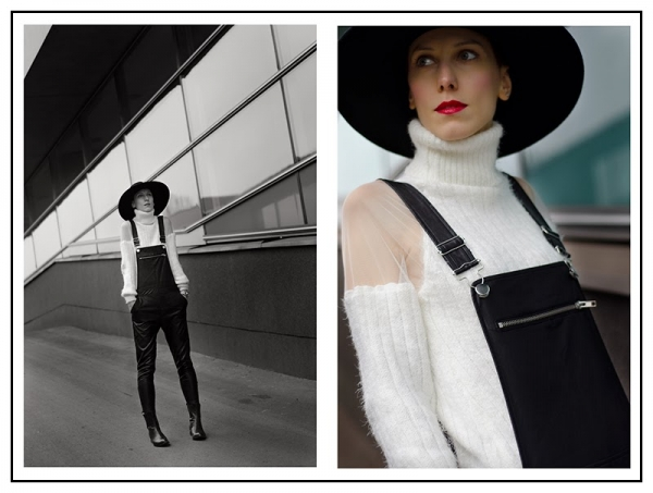 Mesh Paneled Turtleneck Mohair Sweater - OASAP.com