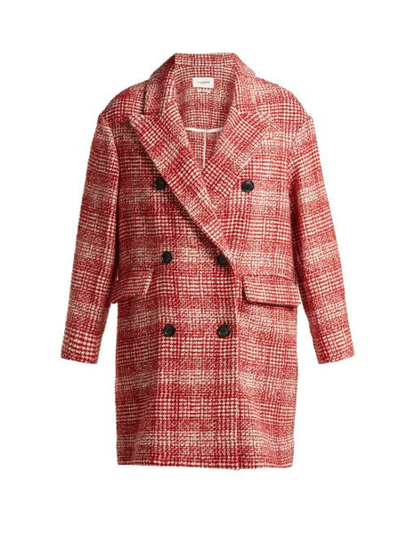 Isabel Marant Étoile Isabel Marant étoile - Ebra Double Breasted Wool Blend Coat - Womens - Red White
