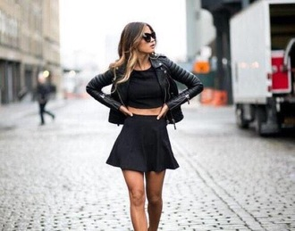 jacket pleated skirt skirt black skirt all back crop tops black crop top black jacket leather jacket sunglasses perfecto date outfit