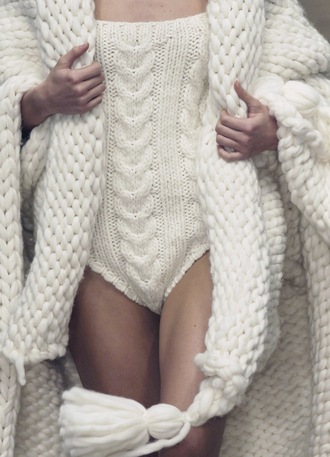 underwear bodysuit white knit wool knitwear texture