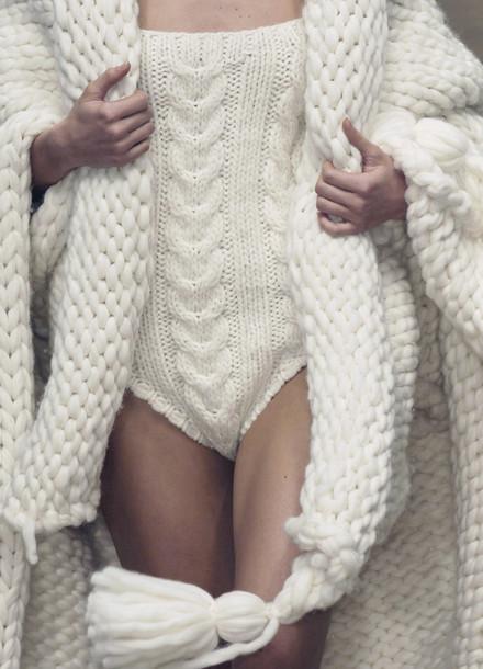 underwear bodysuit white knit wool knitwear texture jumpsuit