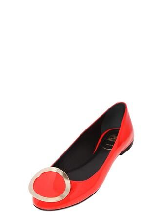 flats leather orange shoes