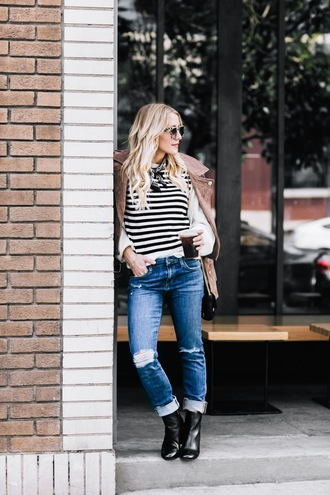 gbo fashion blogger sweater jacket jeans shoes bag winter outfits striped sweater ankle boots suede jacket