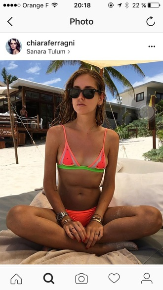 swimwear chiara ferragni watermelon print bikini rayban
