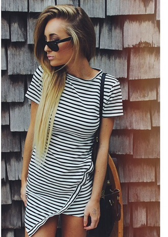 dress striped dress black and white dress red lime sunday