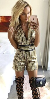 romper,sequins,gold sequins,sexy,sexy outfit,sexy club romper,sexy club jumpsuit,stripes,sequin striped,gold,short jumpsuit,party jumpsuit,party,deep v,v neck,v neck jumpsuit,plunge neckline,sequin dress,chain,preppy,pretty,tumblr romper,tumblr jumpsuit,short,mini,sheath,bodycon,bodycon jumpsuit,sleeveless,cool,cute,date outfit,girl,girly,girly wishlist,moraki,clubwear skirt,plunge v neck,bad girls club,clubwear,fashion,sexy clubbing dress