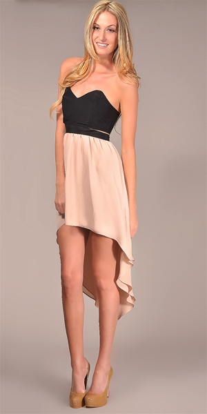 Jennifer Hope - Strapless Cut Out High Low Dress - Black/ Nude