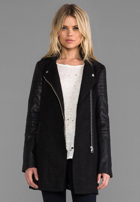 BARDOT Textured Biker Coat in Black at Revolve Clothing - Free Shipping!