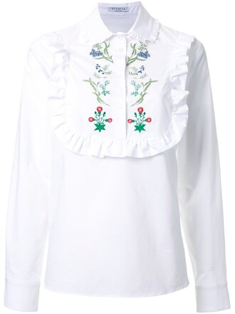 shirt embroidered ruffle white top