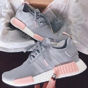 shoes,pink,adidas nmd,adidas shoes,adidas,grey,nmd,women shoes,sneakers,addias shoes