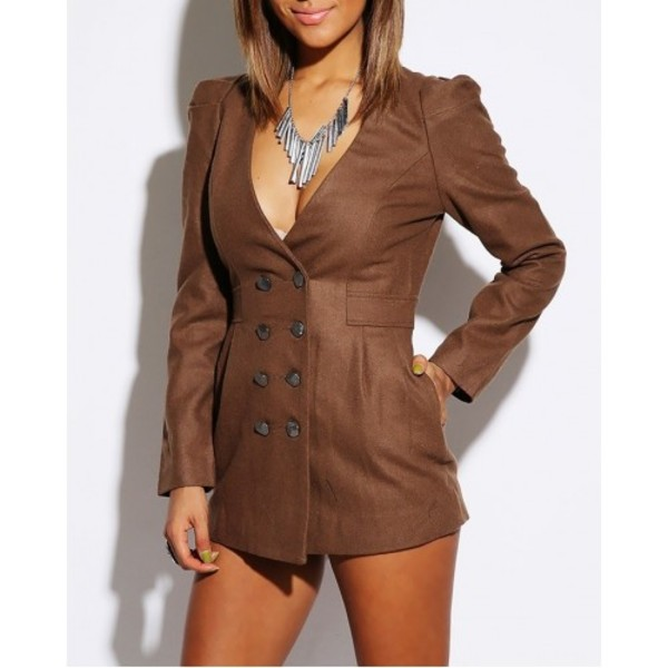 jacket brown blazer double breasted pockets sexy style long line puffer sleeves classy