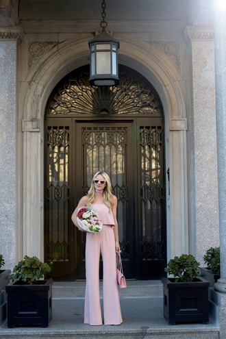 atlantic pacific blogger jumpsuit coat bag pink top crop tops sleeveless wide-leg pants