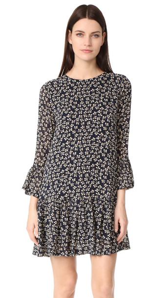 2560603d Ganni Newman Georgette Dress - Total Eclipse - Wheretoget