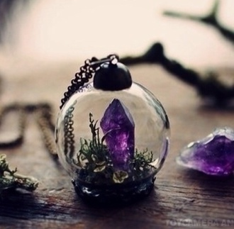 jewels crystal purple necklace raw amethyst ring raw amethyst pendant minuature terrarium fashion style beautiful glass green moss jewelry snow globe gemstone mothers day gift idea terrarium