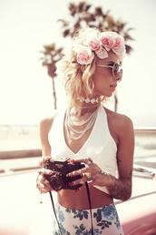 shirt,killem,white,low cut top,flowers,floral skirt,flower crown,summer,cute outfits,skirt,perls,vintage,camera,lil debbie,jewels,short