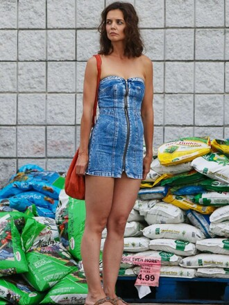 dress denim strapless mini dress katie holmes summer dress summer outfits bustier dress zip topshop