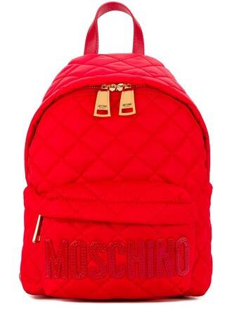 quilted backpack red bag