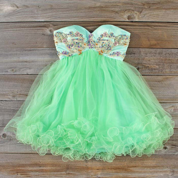 dress strapless prom blue promdress blueandgreen greentulle tulle green shortpromdress blueandgreenpromdress blueandgreendress sweetheartdress embellished dress