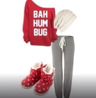 blouse bah hum bug beanie swearshirt pajamas polka dots